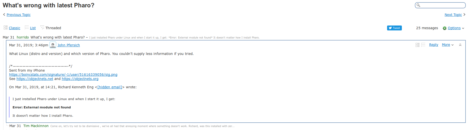 A shot of what it looks like when you open one of the replies in the threaded mailing list view.