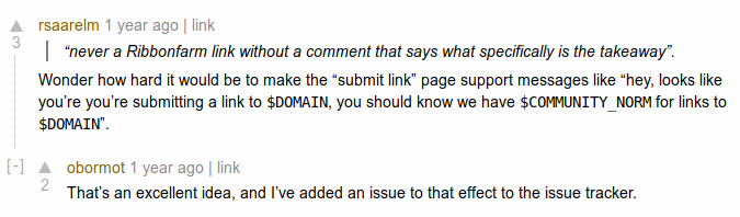 This suggestion to put up norm reminders and notices on the submission page is excellent, and I think could be a useful tactic as part of an overall strategy to install high quality norms of scholarship on Whistling Lobsters 2.0.